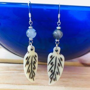 Boho Feather Tourmalated Quartz Dangle Earrings